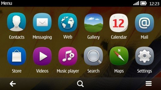 Symbian Belle flat menu 540x303